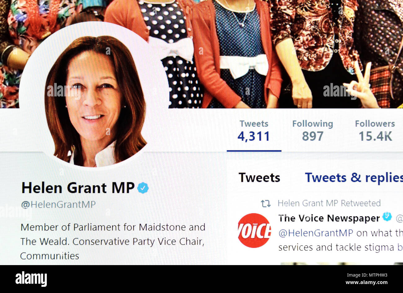 Helen Grant MP Twitter page (2018) - Stock Image
