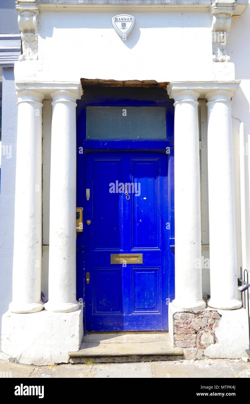 The blue door made famous in the film Notting Hill with High Grant, Westbourne Park Road, Notting Hill, London, England - Stock Image