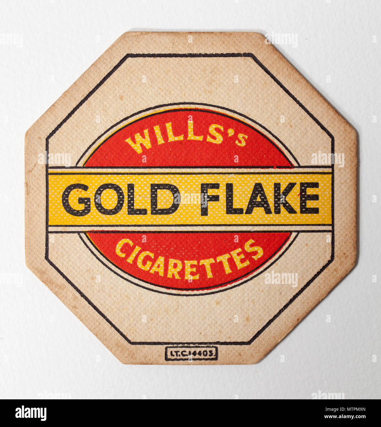 Vintage British Beer Mat Advertising Wills Gold Flake Cigarettes - Stock Image