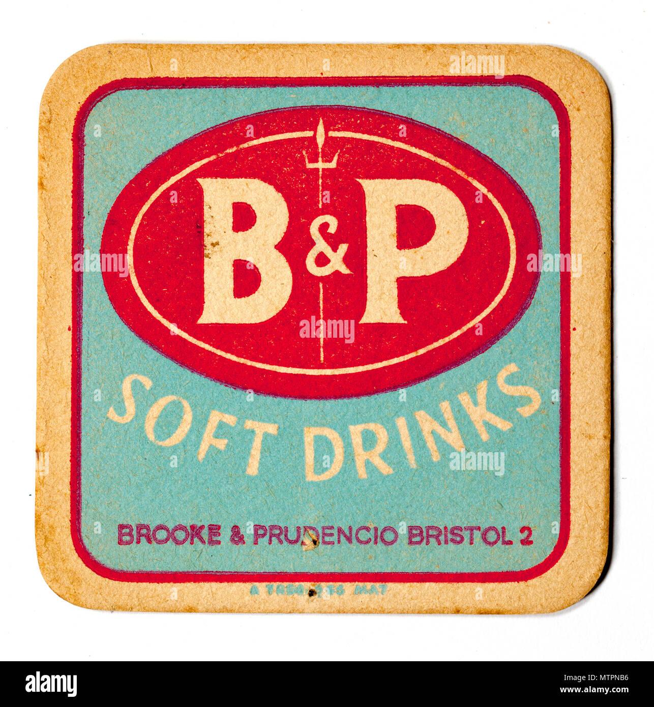 Vintage British Beer Mat Advertising B&P Soft Drinks - Stock Image