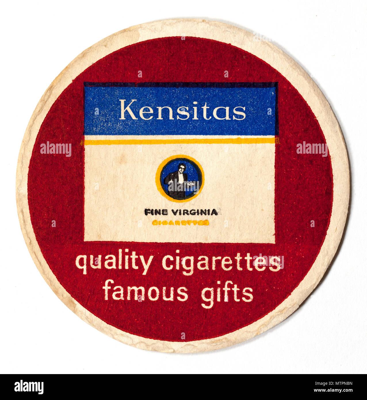 Vintage British Beer Mat Advertising Kensitas Cigarettes - Stock Image