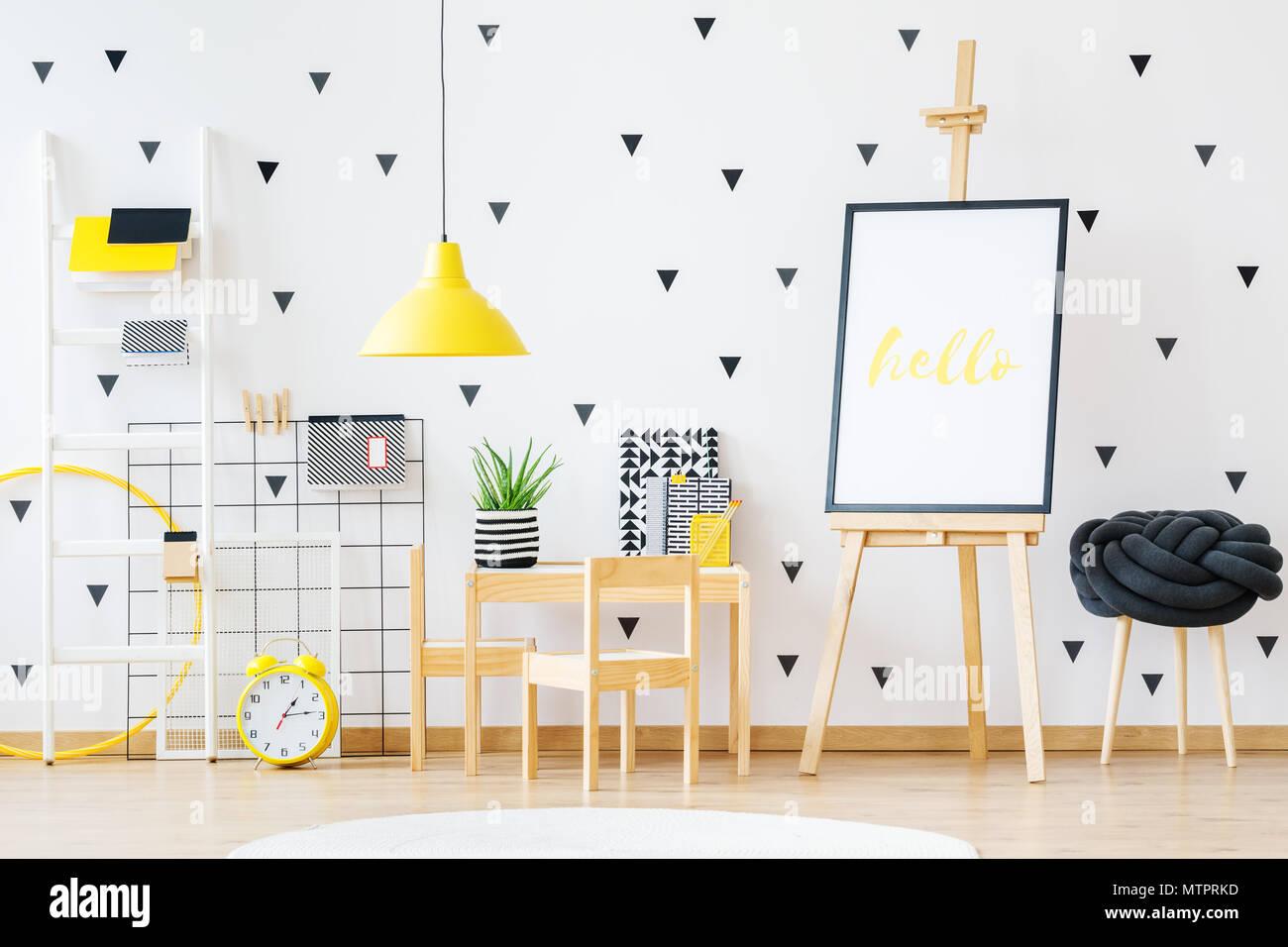 Fantastic Yellow Lamp In Scandi Kindergarten With Hula Hoop Easel And Inzonedesignstudio Interior Chair Design Inzonedesignstudiocom