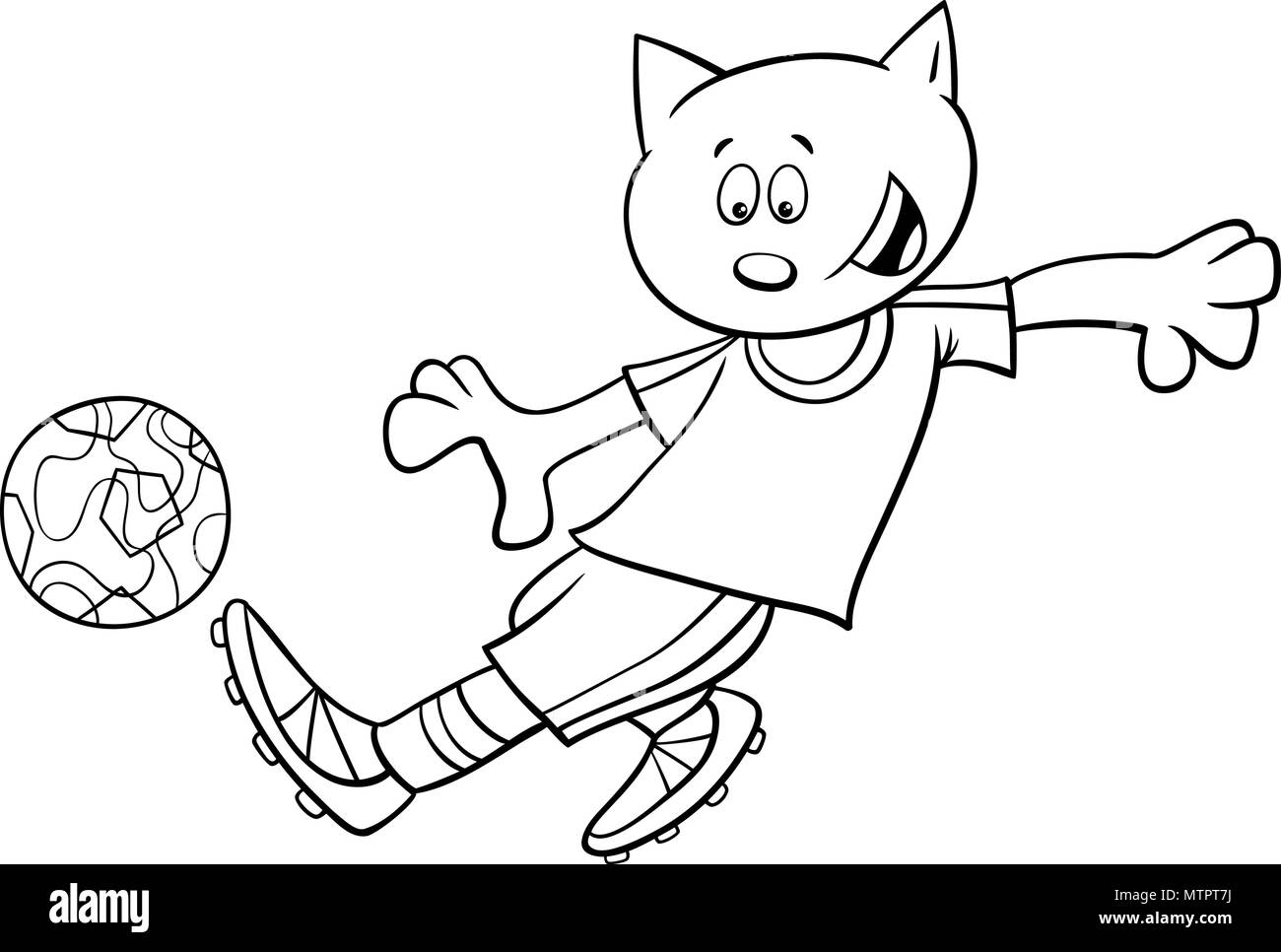 Black and White Cartoon Illustrations of Cat Football or Soccer ...