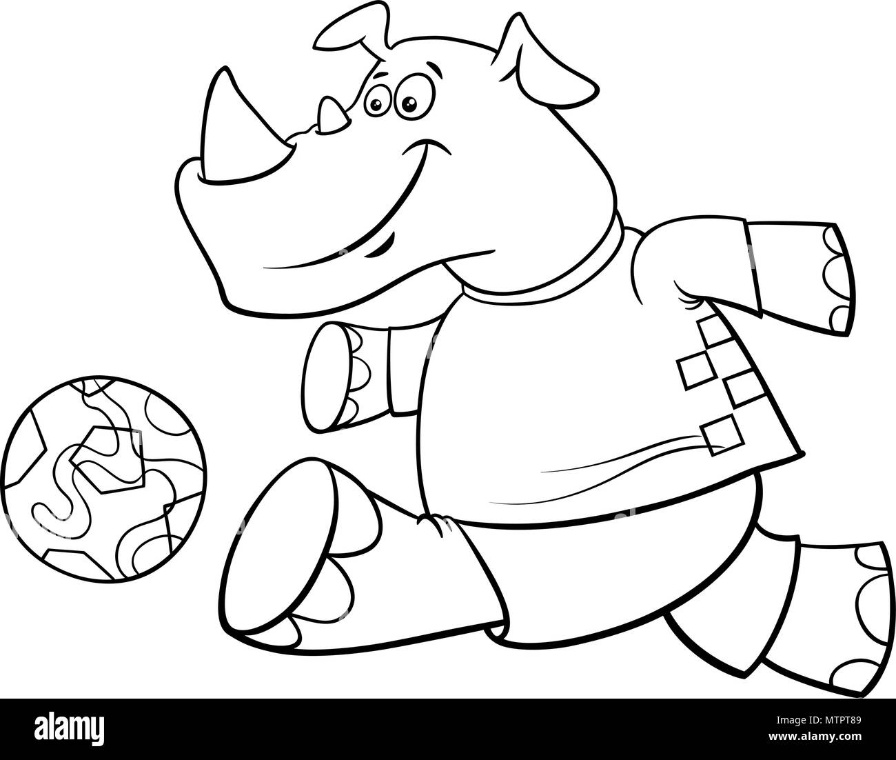 Black and White Cartoon Illustrations of Rhino Football or Soccer ...