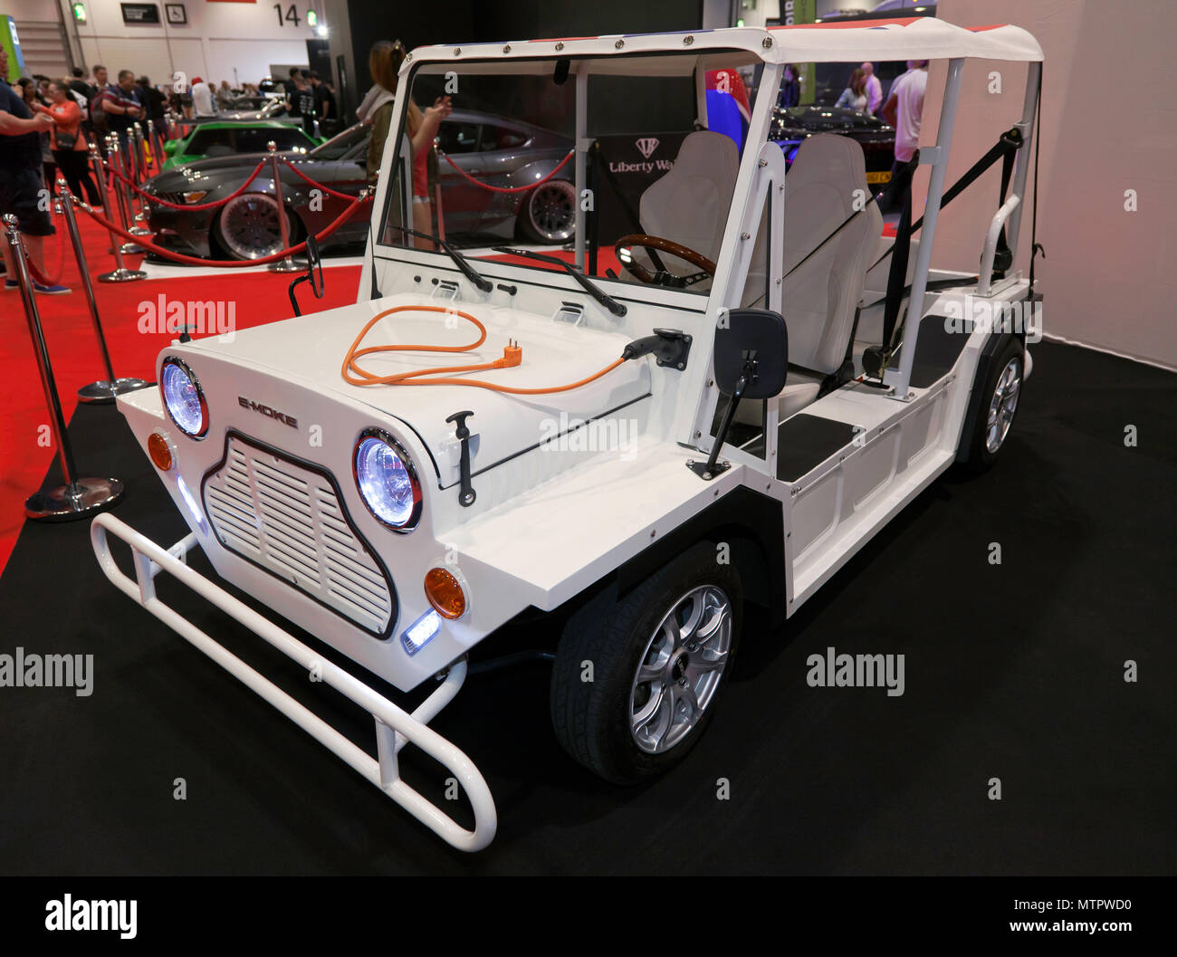 Three-quarter front view of an E-Moke, on display at the 2018 London Motor Show Stock Photo