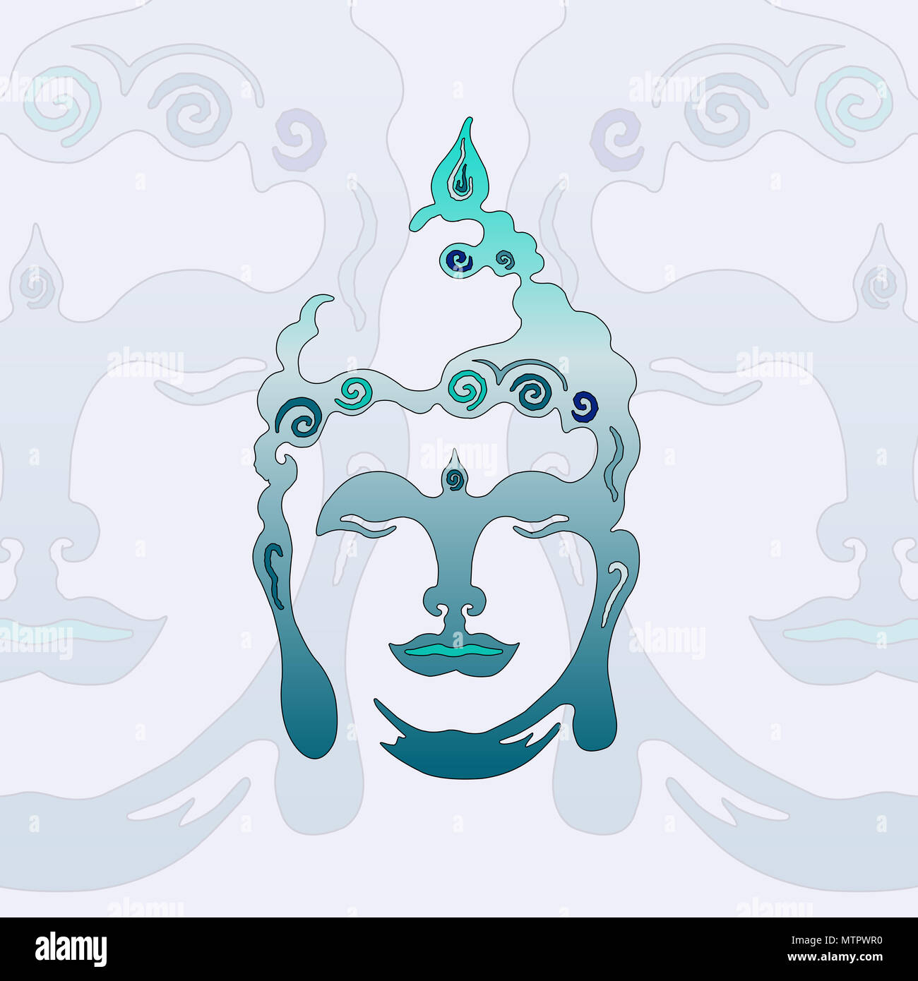 Illustration Buddha Head with turquoise colors - Stock Image