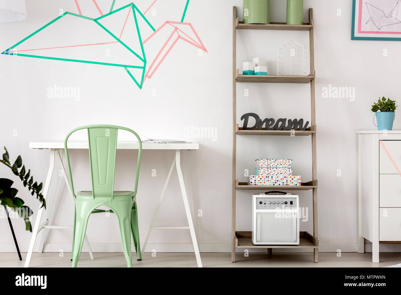 Simple Home Office With Decorative Washi Tape Wall Decor