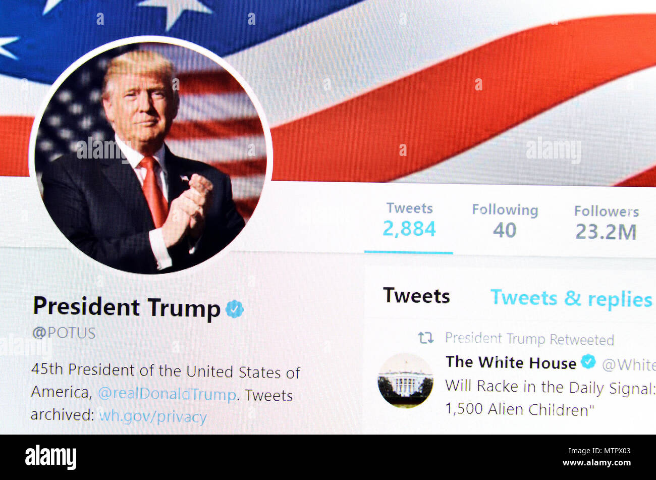 President Trump Potus Twitter Page 2018 Stock Photo Alamy