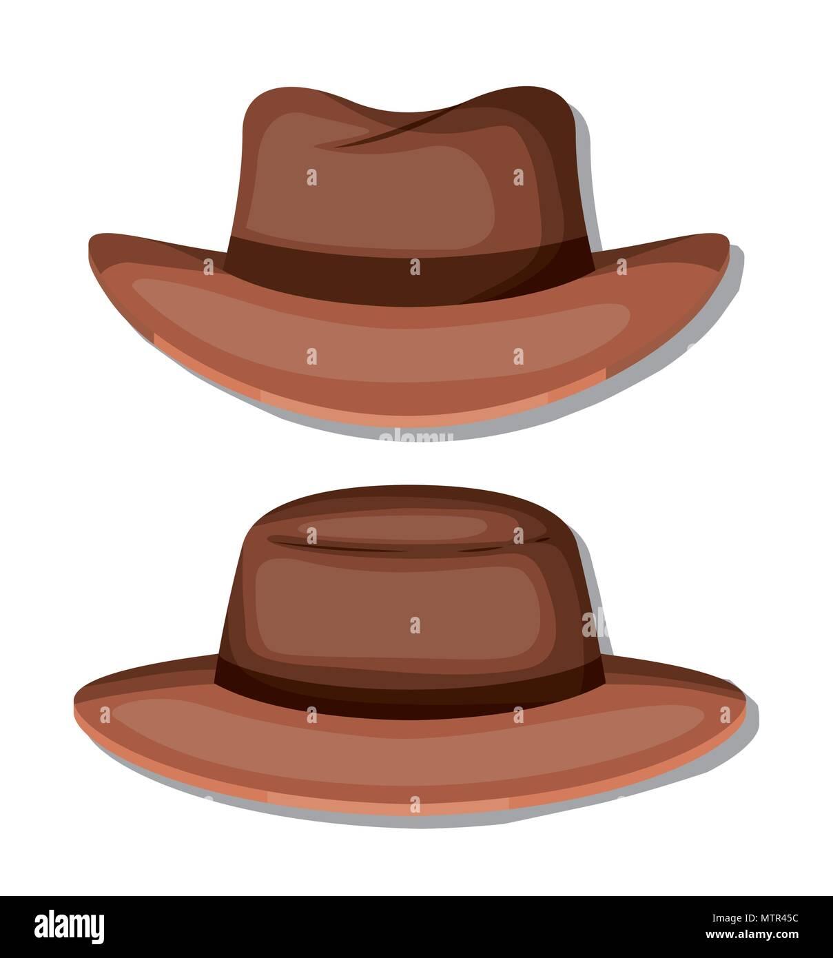elegant hat masculine icons - Stock Image