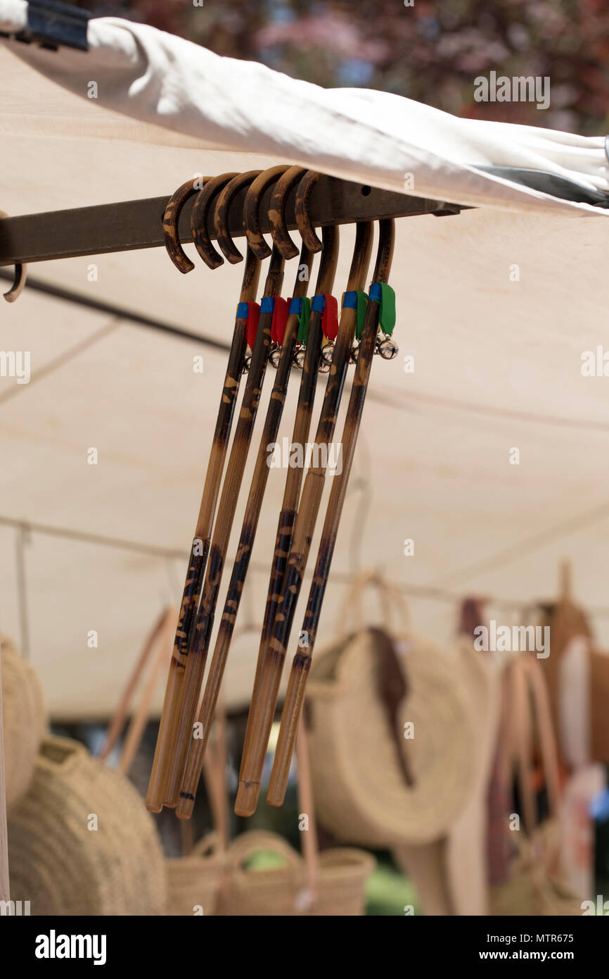 Wooden cane store in a market Stock Photo