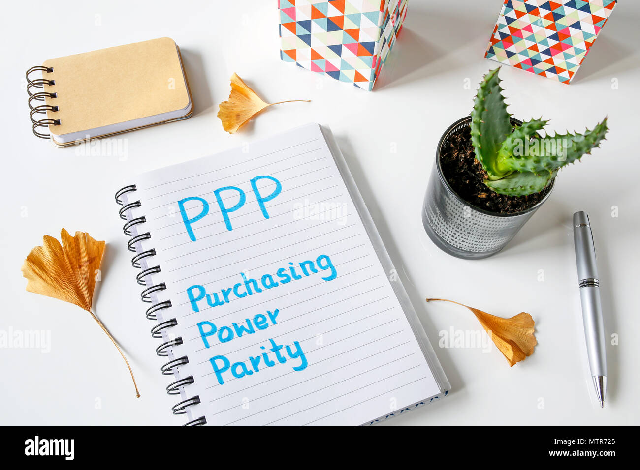 PPP Purchasing Power Parity written in a notebook on white table - Stock Image