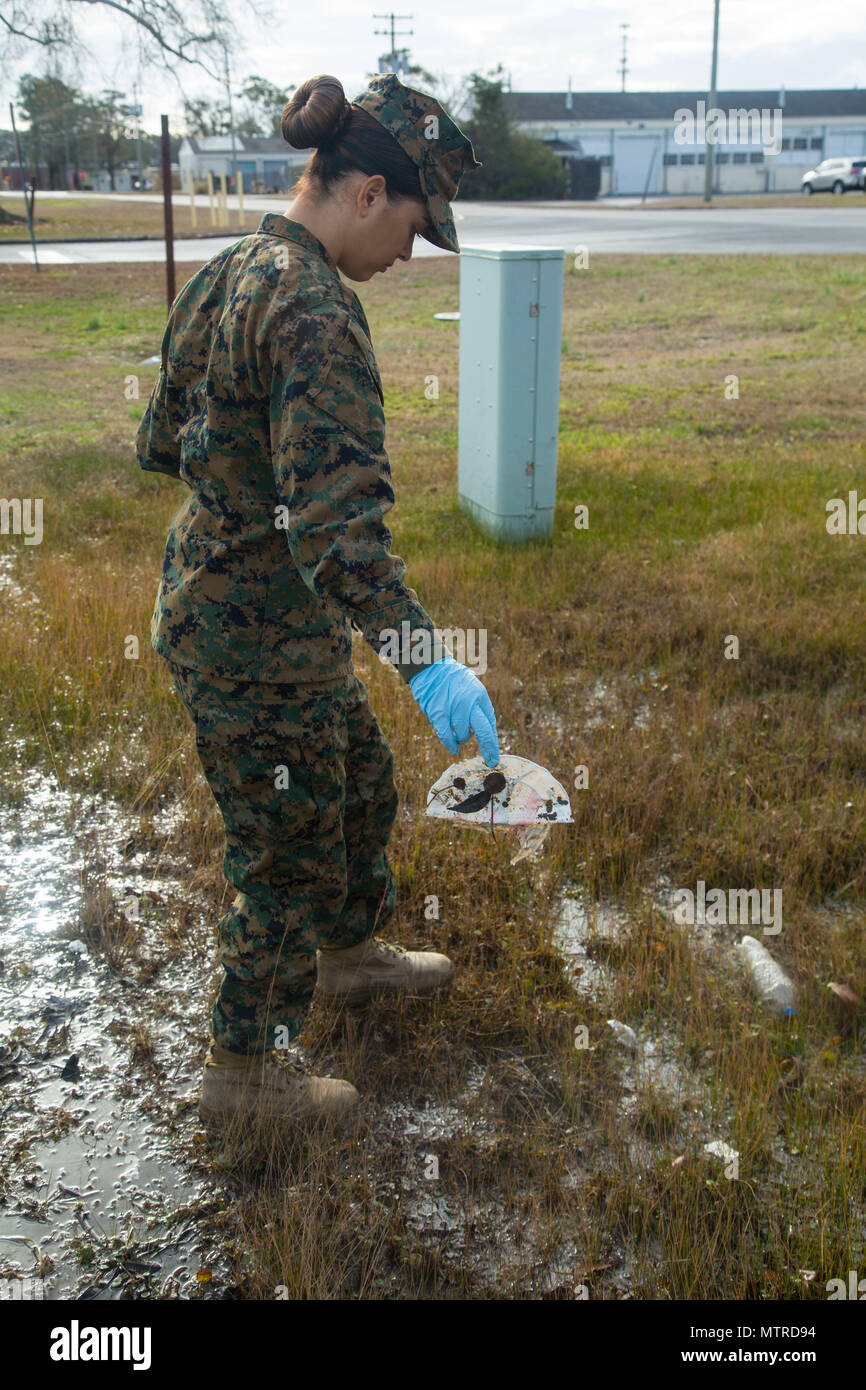 U.S. Marine Corps Lance Cpl. Ashley Gomez, combat photographer, Headquarters and Support Battalion, Marine Corps Installation East, participates in a clean sweep, Camp Lejeune, N.C., Jan. 12, 2017. The clean sweep was conducted to ensure a good state of cleanliness is being maintained within the units' respected facilities. (U.S. Marine Corps photo by Lance Cpl. Austin Livingston) - Stock Image
