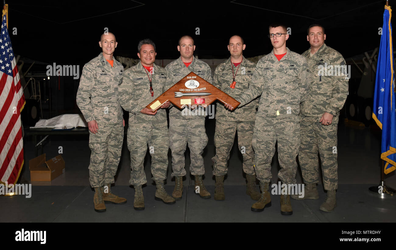 Members Of The 131st Aircraft Maintenance Squadron AMXS Are Presented With 509th MXG