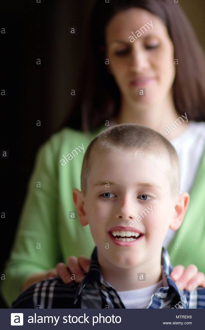 Mother and Son, differential focus - Stock Image