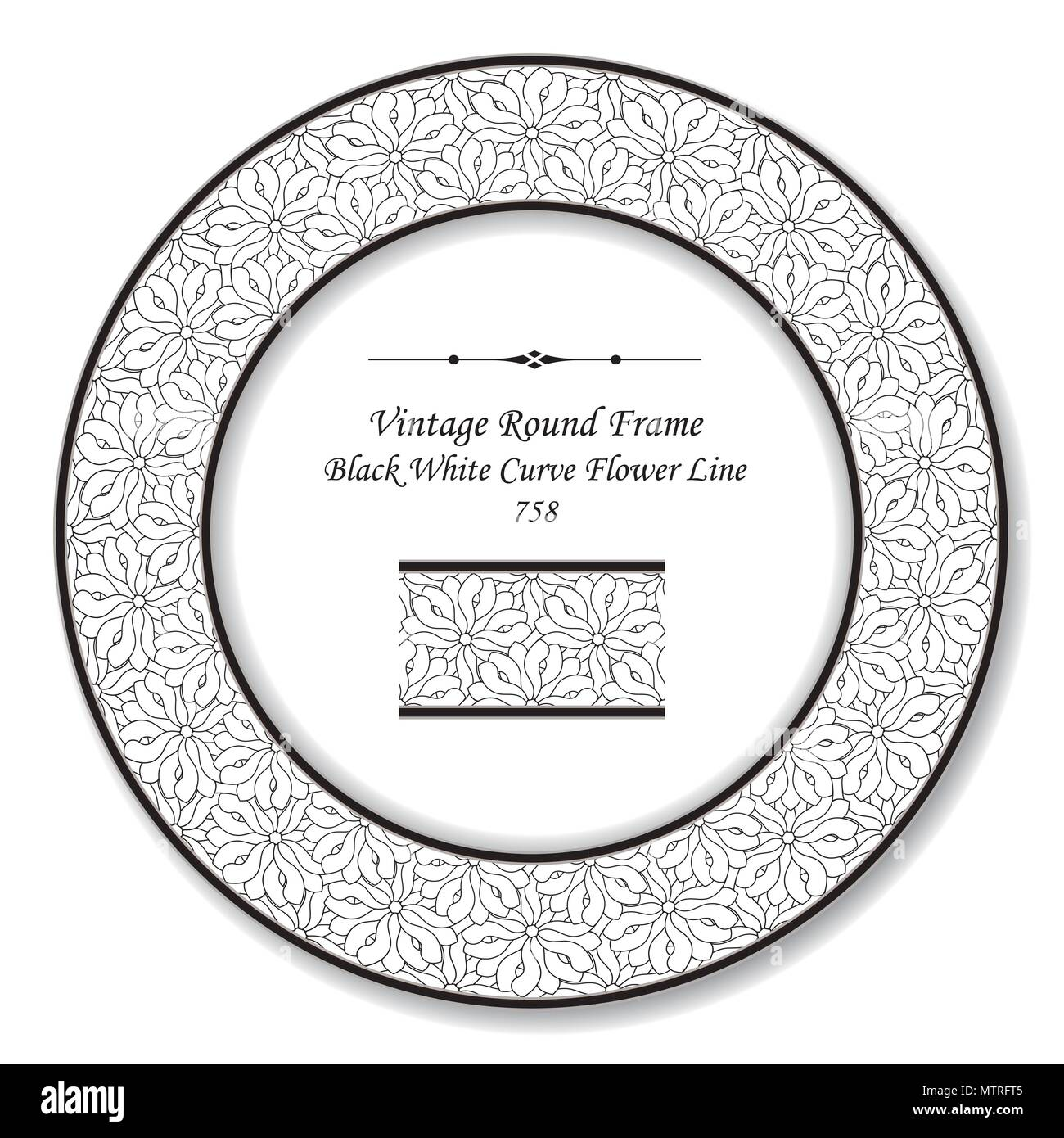 Vintage Round Retro Frame black white curve flower line, antique style template ideal for invitation or greeting card design. - Stock Image