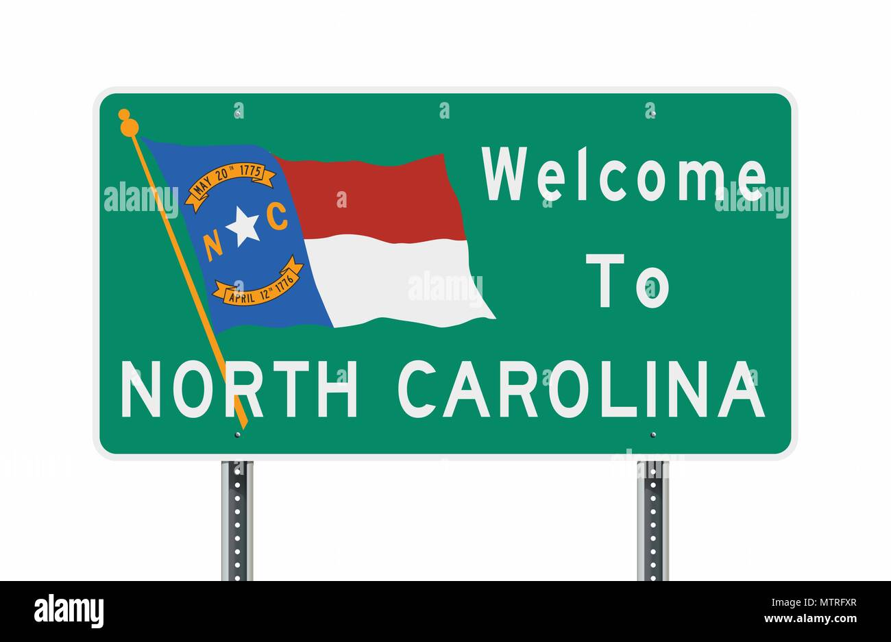 Vector illustration of the Welcome to North Carolina green road sign with North Carolina flag - Stock Image