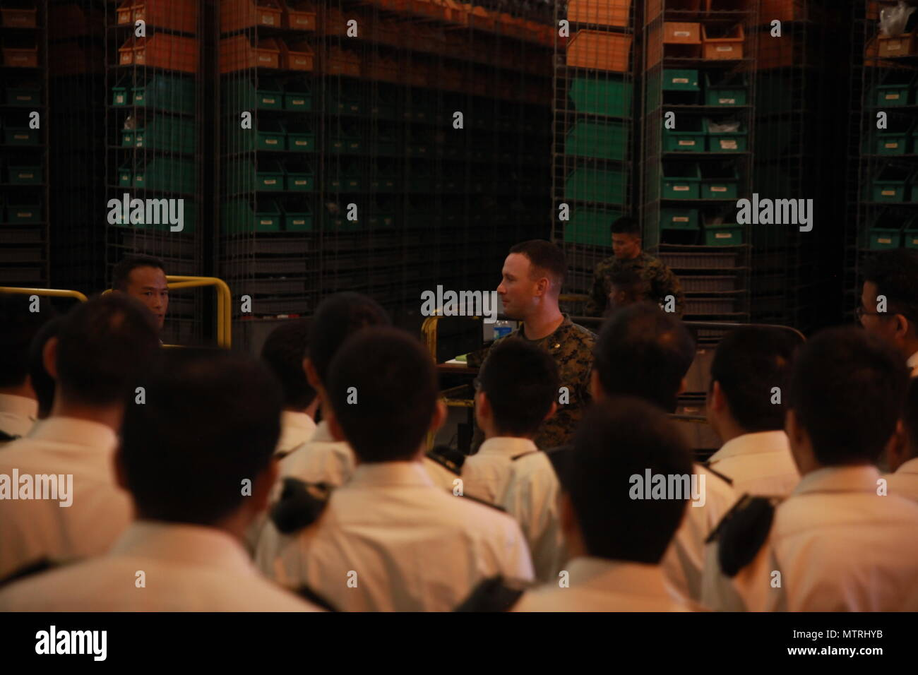 Maj  Timothy Fretwell shows Japanese cadets and instructors