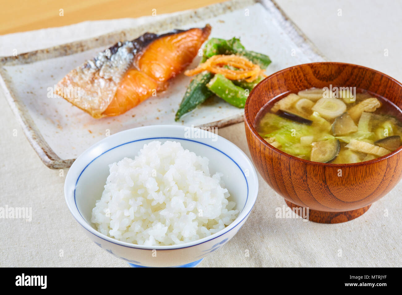 Japanese Style Grilled Fish Rice And Soup Stock Photo Alamy