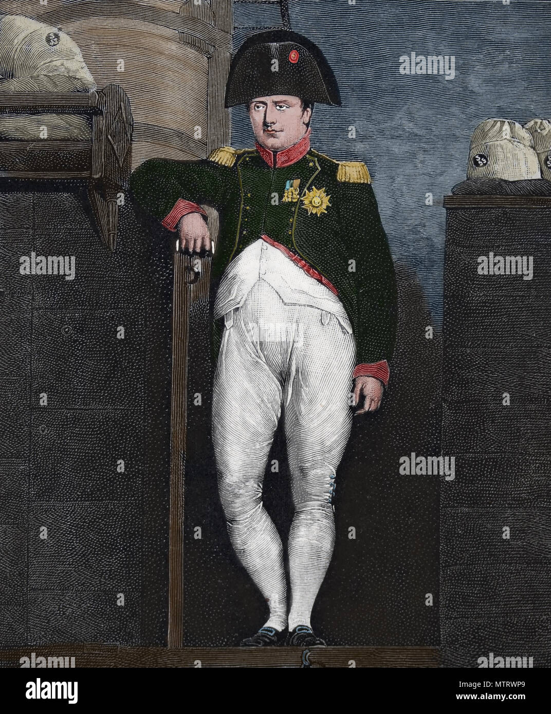 Napoleon I on board the HMS Bellerophon (UK). Napoleon's surrender. 1815. Portrait by Charles Lock Eastlake. - Stock Image