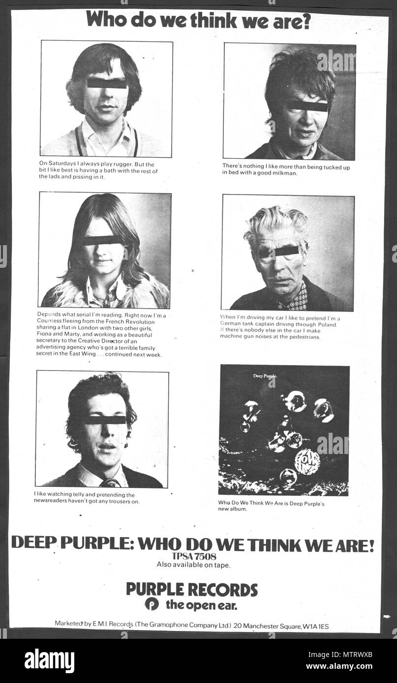 Deep Purple Press Advert; advert for the band's albums from the 1970s and 1980s. These adverts appeared in the British music papers and show Deep Purple's albums in their original context. Includes some of their most famous titles including Smoke On The Water and Machine Head. Who Do We Think We Are was the band's final album by their most famous second line-up, issued in 1973, and reaching top ten in Billboard charts. Woman From Tokyo was issued as a hit single. The clever advert won a design award. - Stock Image