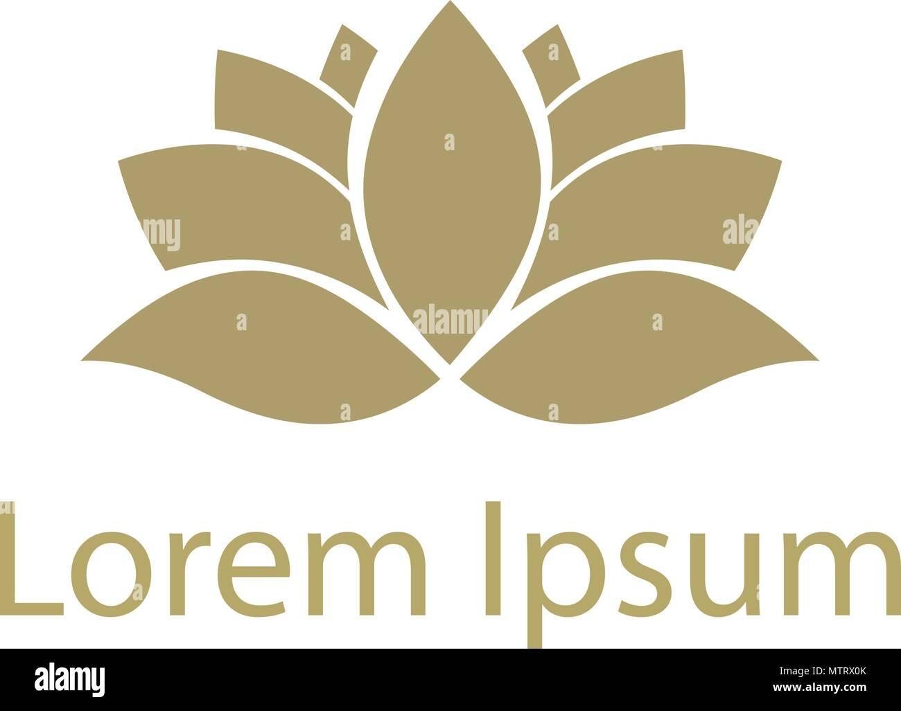 Gold Lotus Flower Logo Template Stock Vector Art Illustration