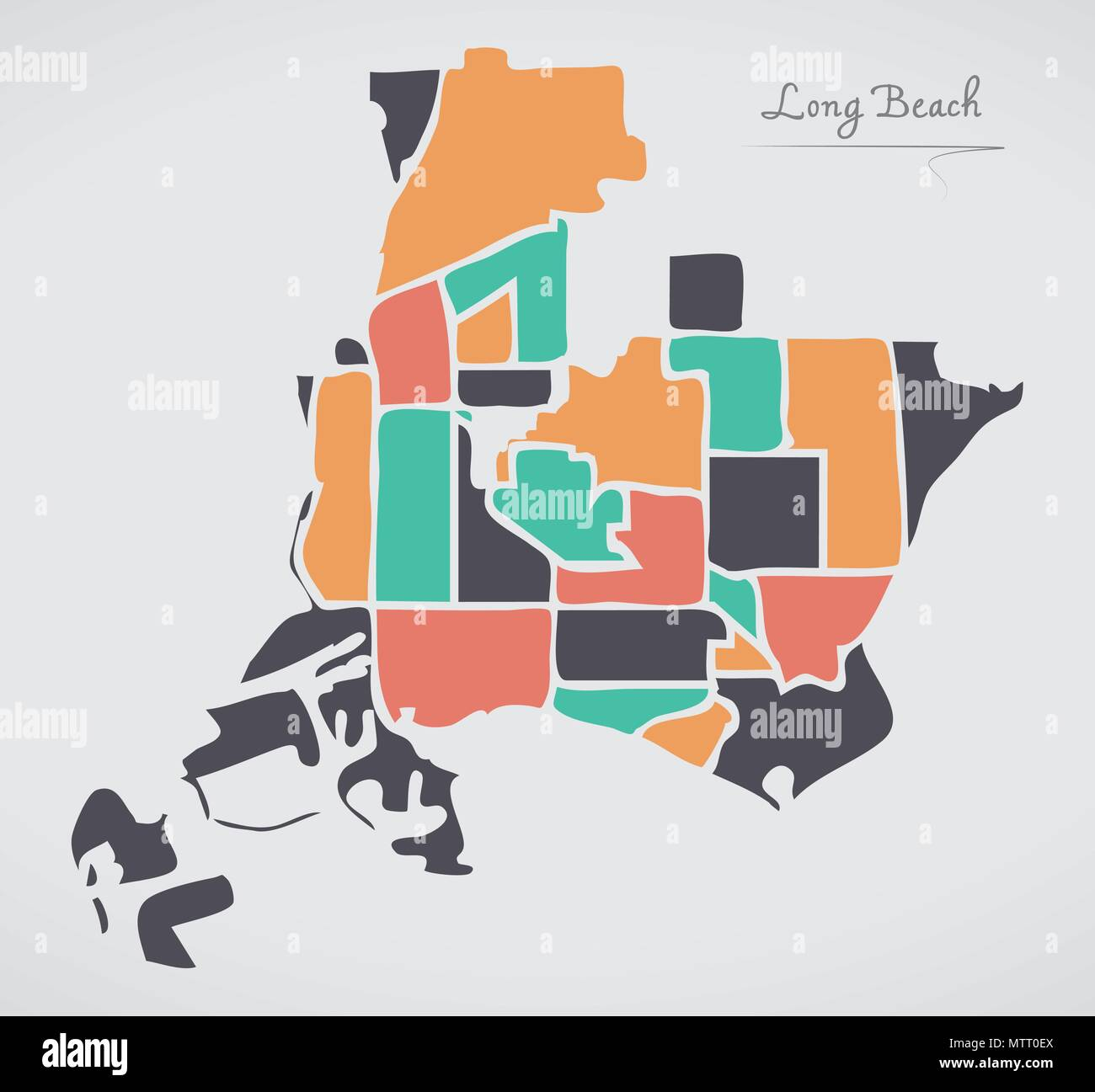 Long Beach California Map with neighborhoods and modern round shapes ...