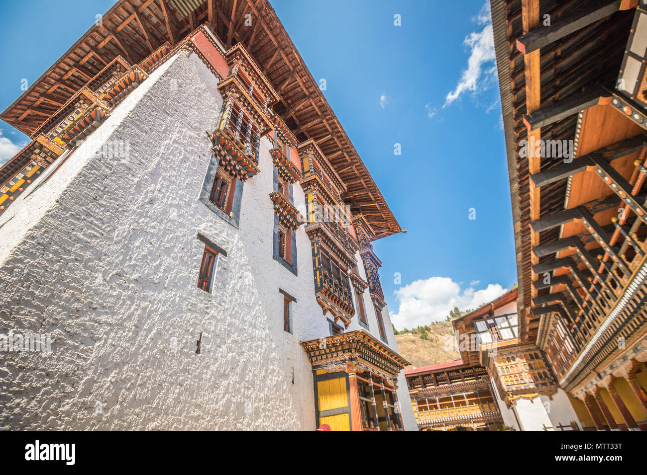 Old temple in Paro Dzong Bhutan - Stock Image