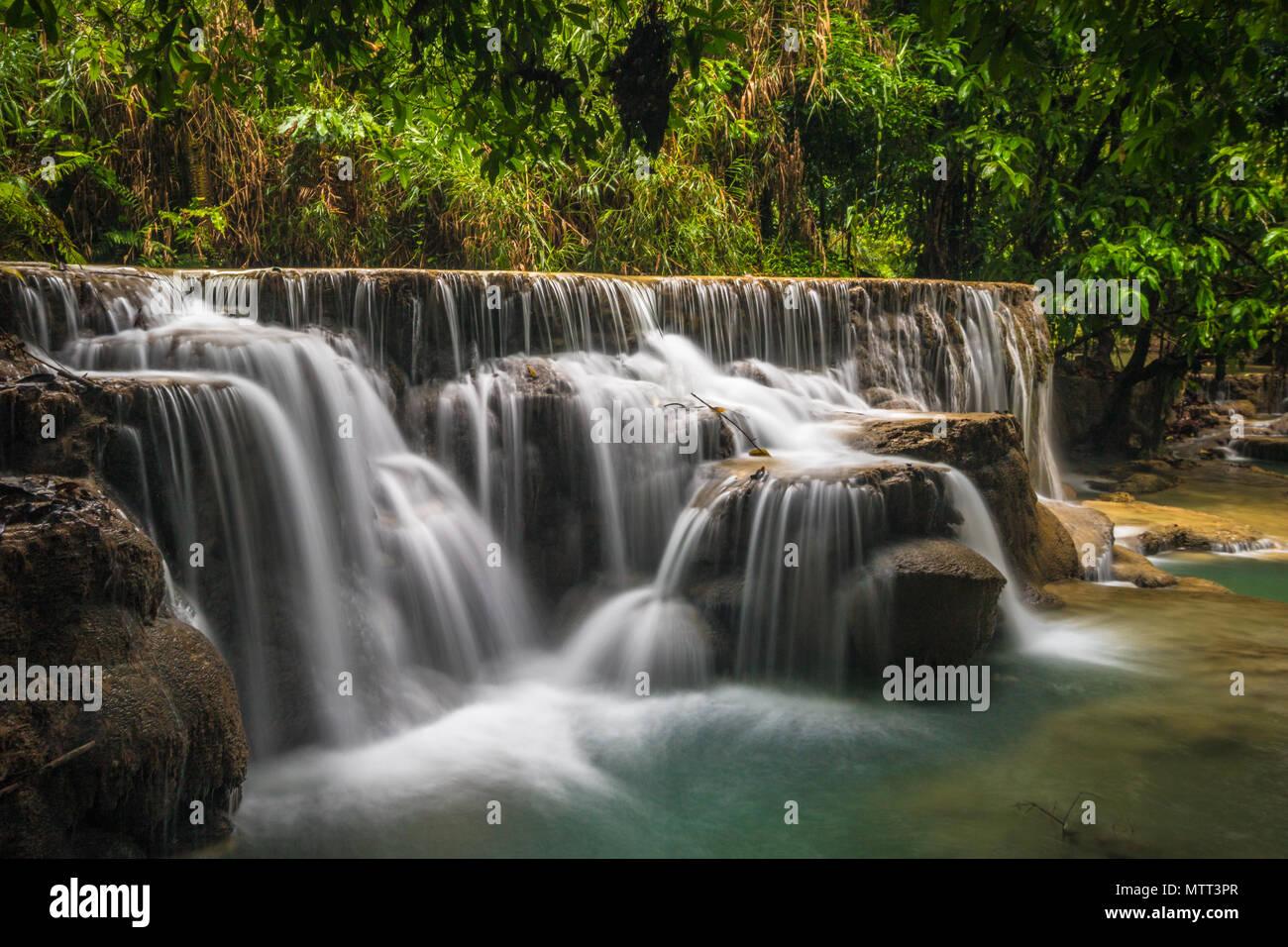 Kuang Si waterfall in Laos Stock Photo