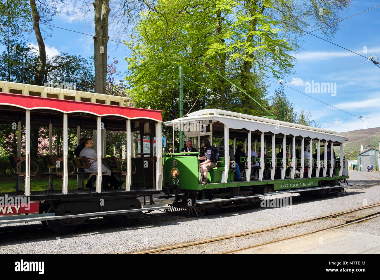 Manx Electric Railway train carriages leaving station in Laxey, Isle of Man, British Isles - Stock Image