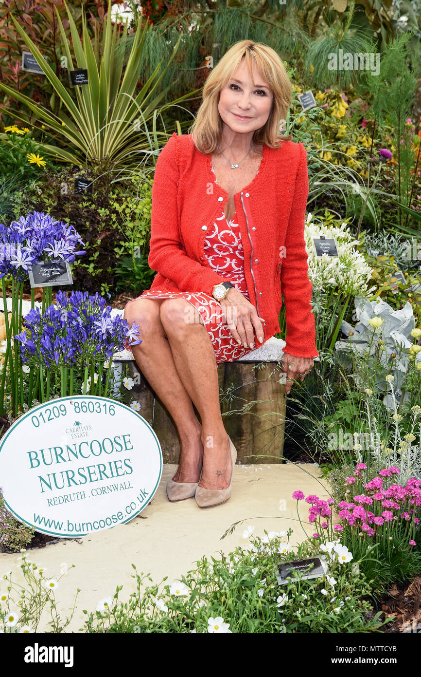Felicity Kendal, posed with a display by Burncoose Nurseries. RHS Chelsea Flower Show 2018, The Royal Hospital, Chelsea, London. UK  21.05.2018 Stock Photo