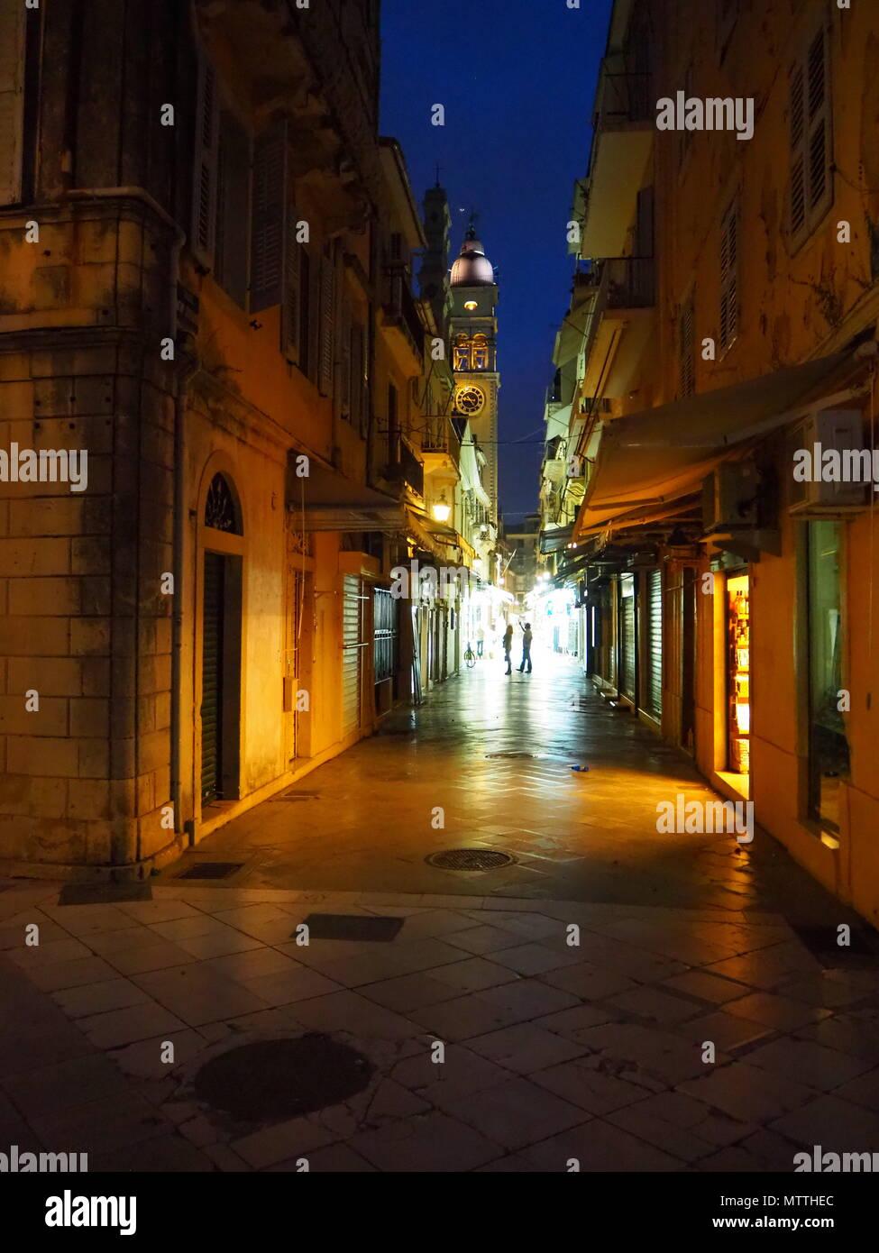 Nacht über der Altstadt von Korfu - Stock Image