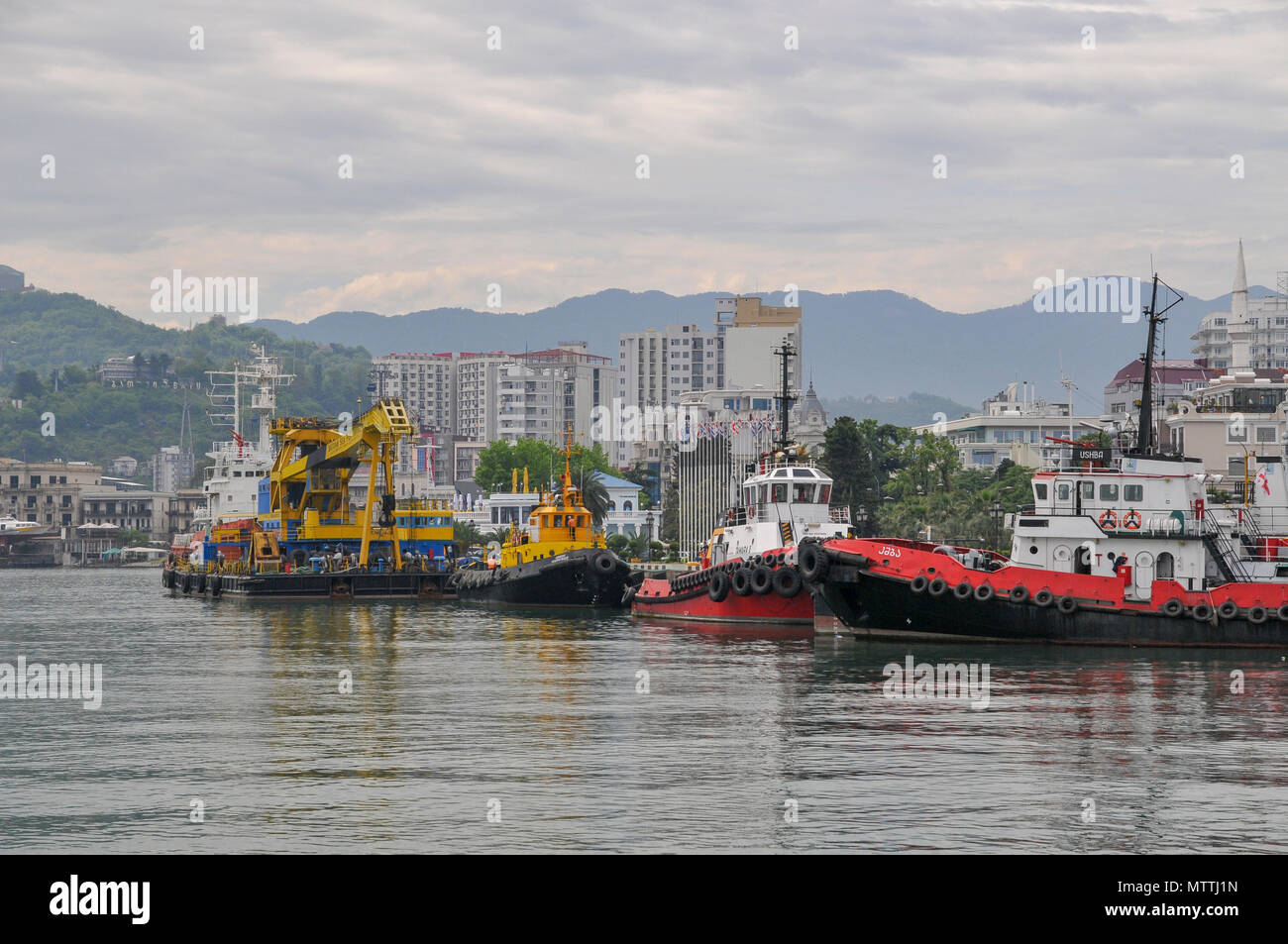 Tugboats at the port of Batumi, Georgia - Stock Image