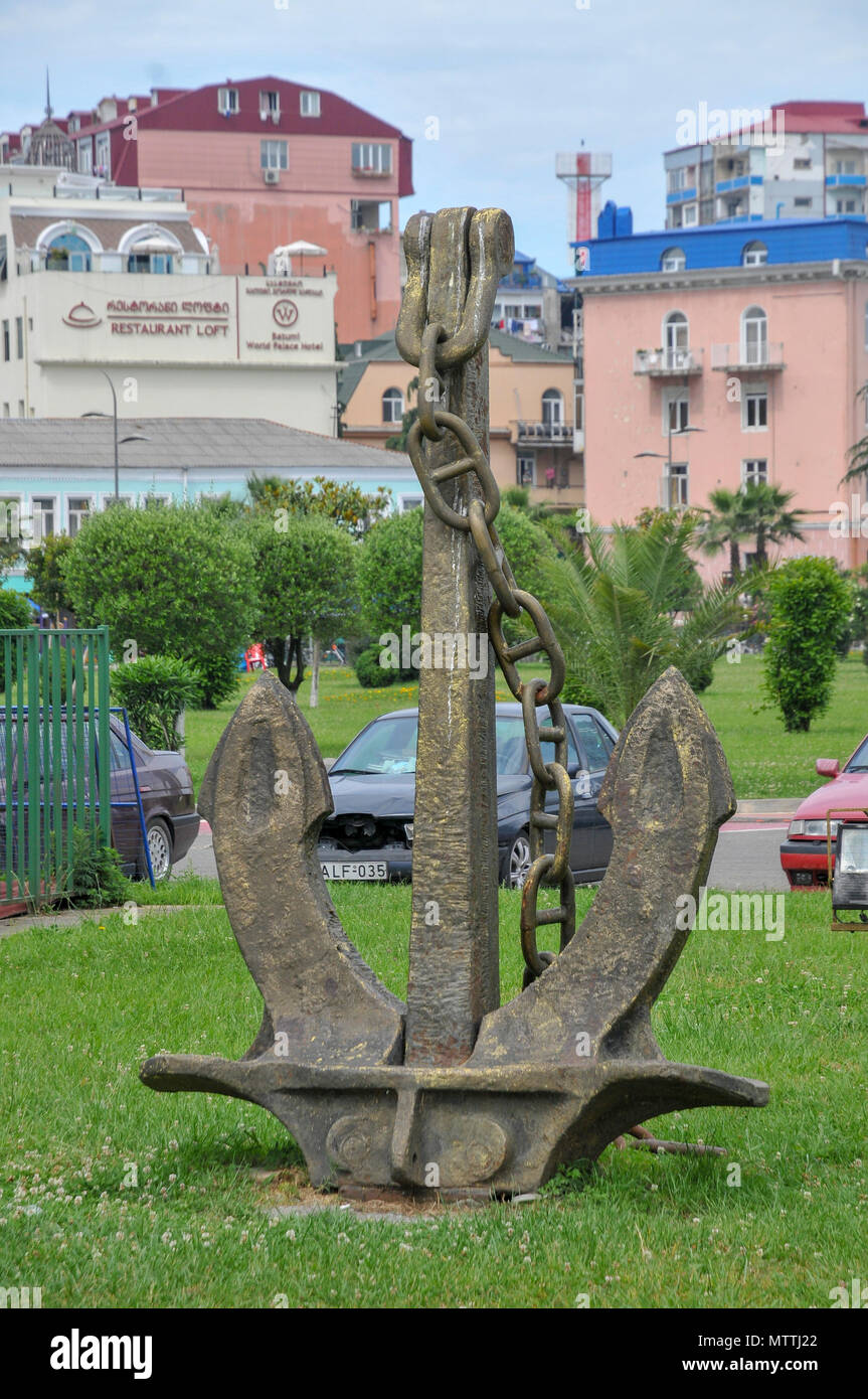 Large anchor at the port of Batumi, Georgia - Stock Image