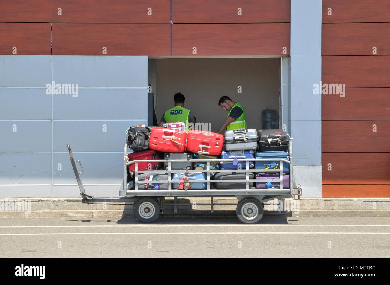 Baggage handling at Batumi international airport, Georgia - Stock Image