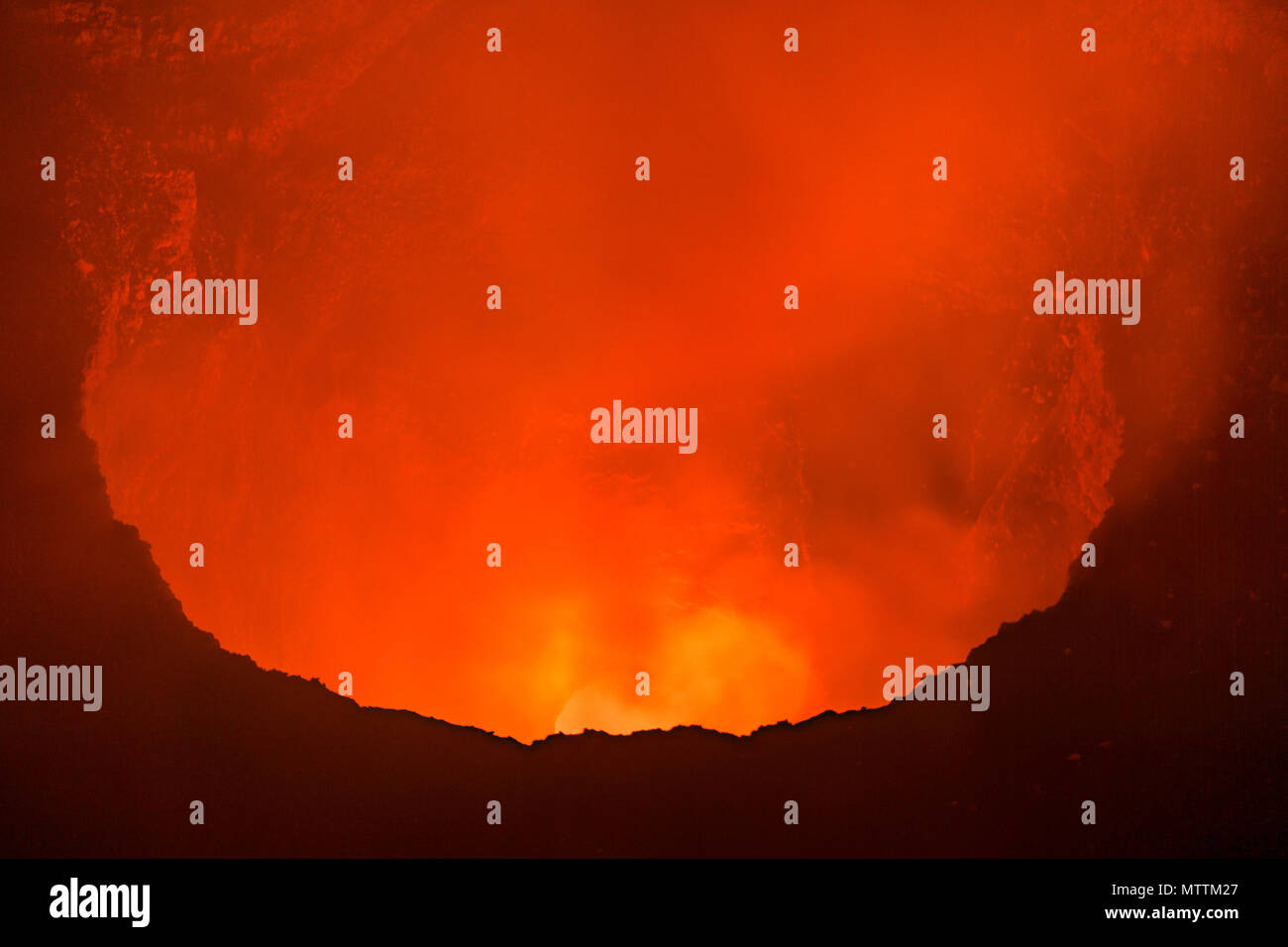 View into the magma of the masaya vulcano, Nicaragua. - Stock Image