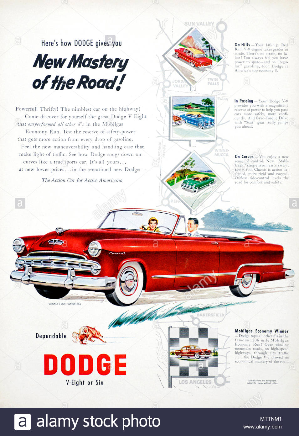 Vintage Advertising For The Dodge Coronet Car 1953 Stock Photo