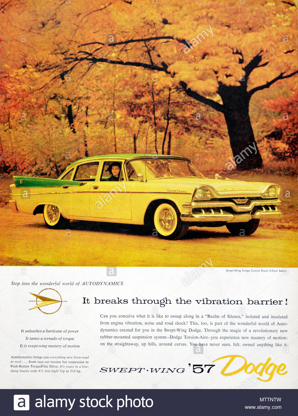 Vintage advertising for the Dodge Swept-Wing Car 1957 - Stock Image