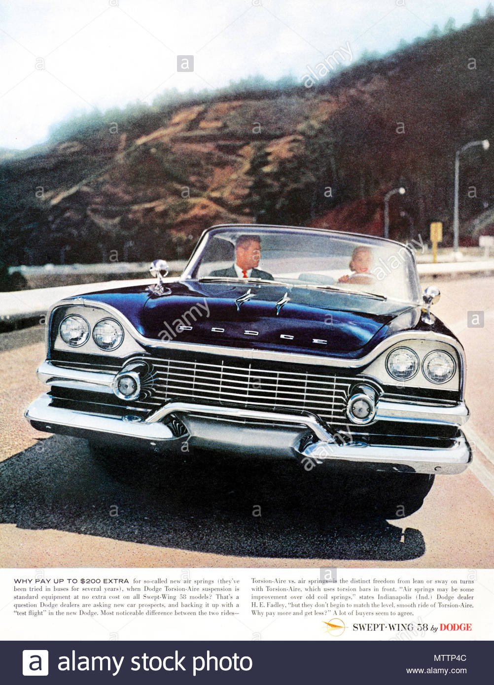 Vintage advertising for the Dodge Swept-Wing Car 1958 - Stock Image