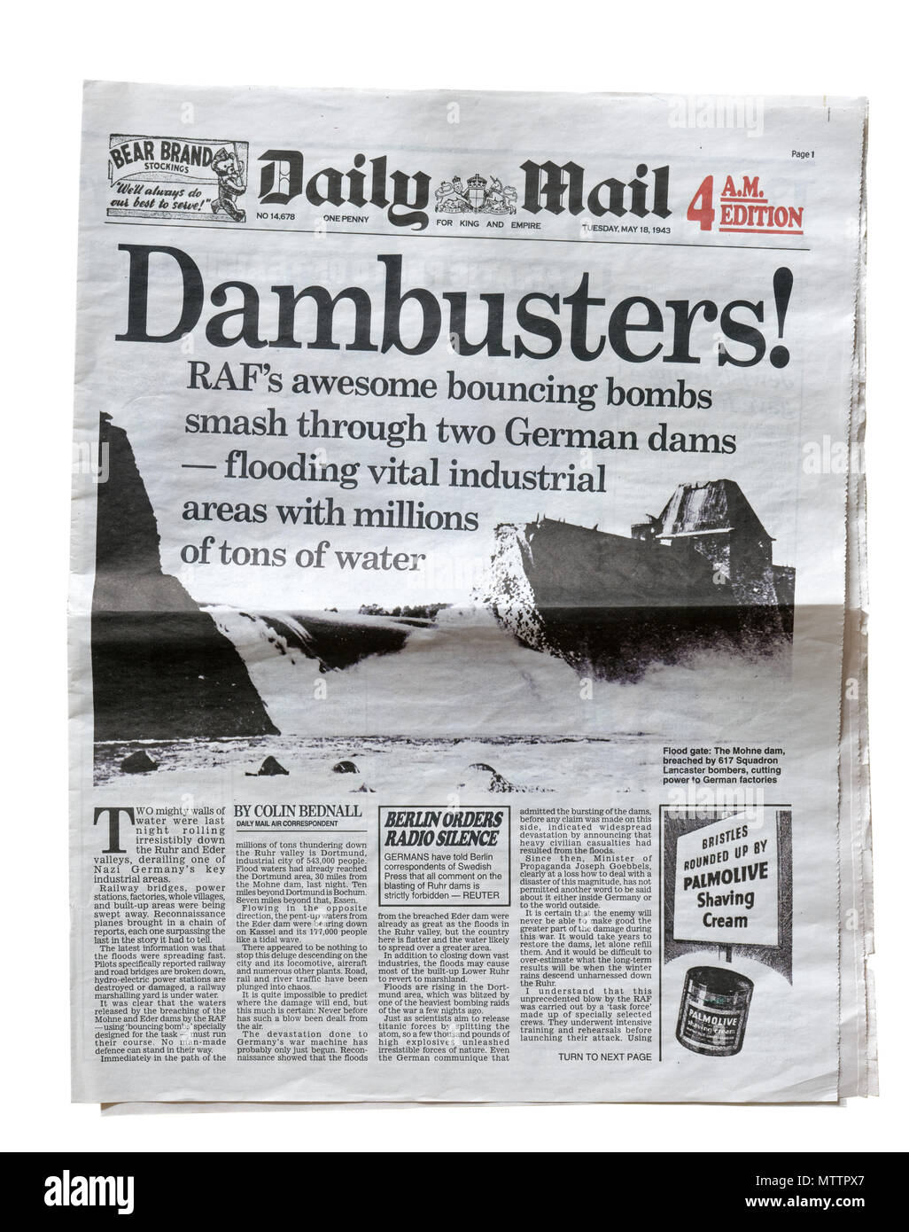 A reproduction of the Daily Mail from 18th May 1943 with the Dambusters headline, reporting Operation Chastise, the raid on the dams in the Ruhr - Stock Image