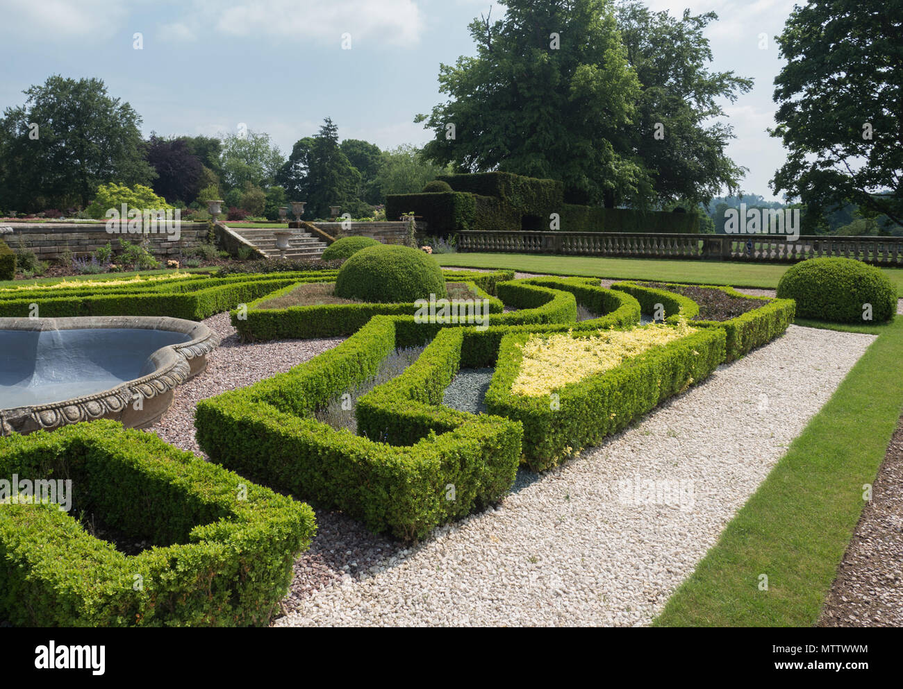Weston-under-Lizard, England, 29th, May, 2018.  Weston Park Stately House.  The topiary of the formal gardens of the main house. - Stock Image