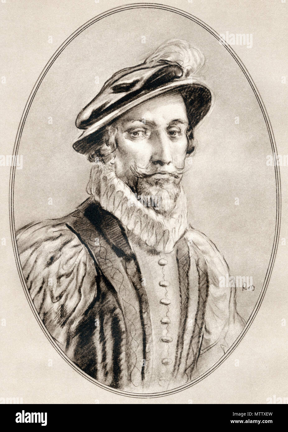 Sir Walter Raleigh,  c.1554 – 1618.  English landed gentleman, writer, poet, soldier, politician, courtier, spy and explorer.  Illustration by Gordon Ross, American artist and illustrator (1873-1946), from Living Biographies of Famous Men. - Stock Image