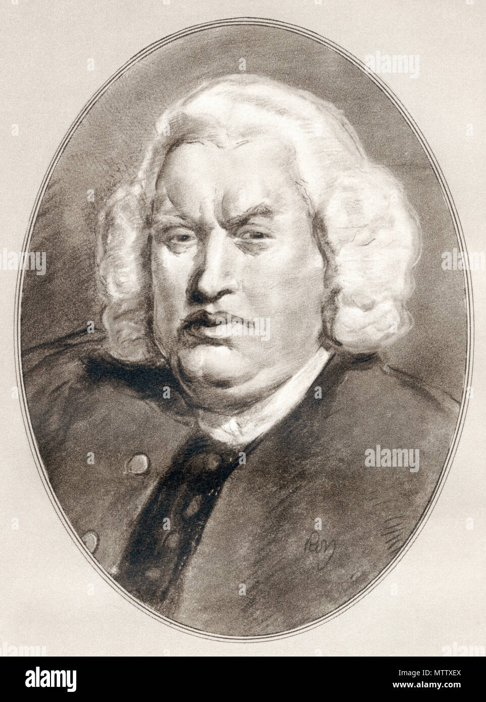 Samuel Johnson, 1709 - 1784, aka Dr. Johnson.  English writer, poet, essayist, moralist, literary critic, biographer, editor and lexicographer.  Illustration by Gordon Ross, American artist and illustrator (1873-1946), from Living Biographies of Famous Men. - Stock Image
