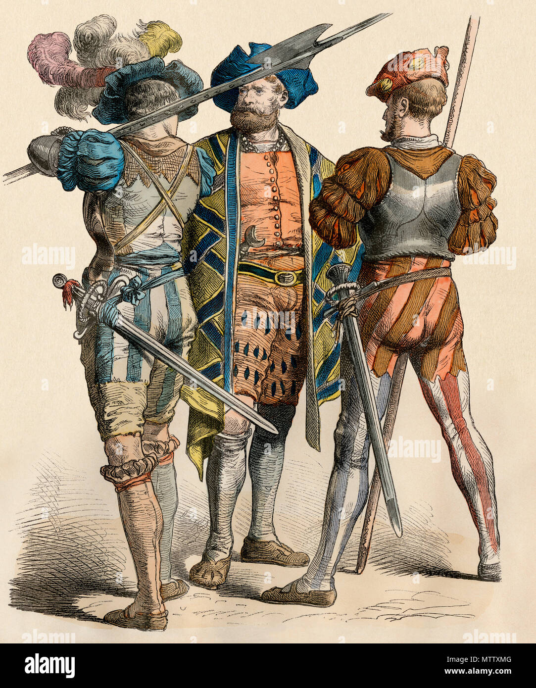 German country squire with his armed attendants, 1500s. Hand-colored print - Stock Image