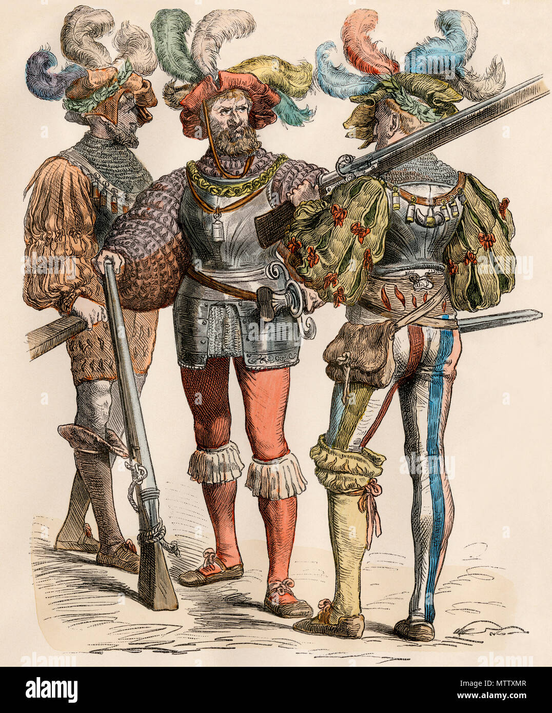 German country squire and his companions armed with muskets. Hand-colored print - Stock Image