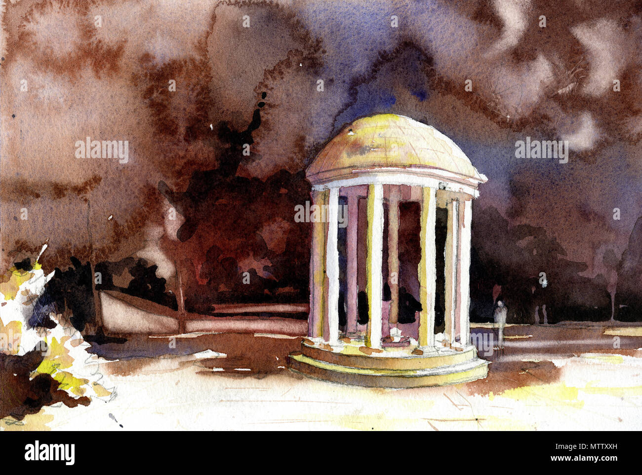 Watercolor painting of Old Well on University of North Carolina (UNC)- Chapel Hill, NC - Stock Image