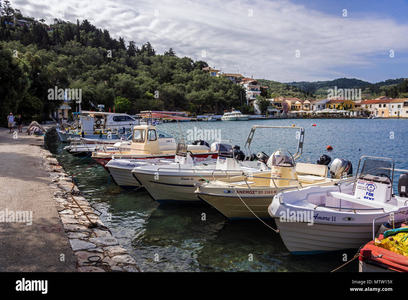 Boat Hire at Lakka Harbour, Paxos. - Stock Image