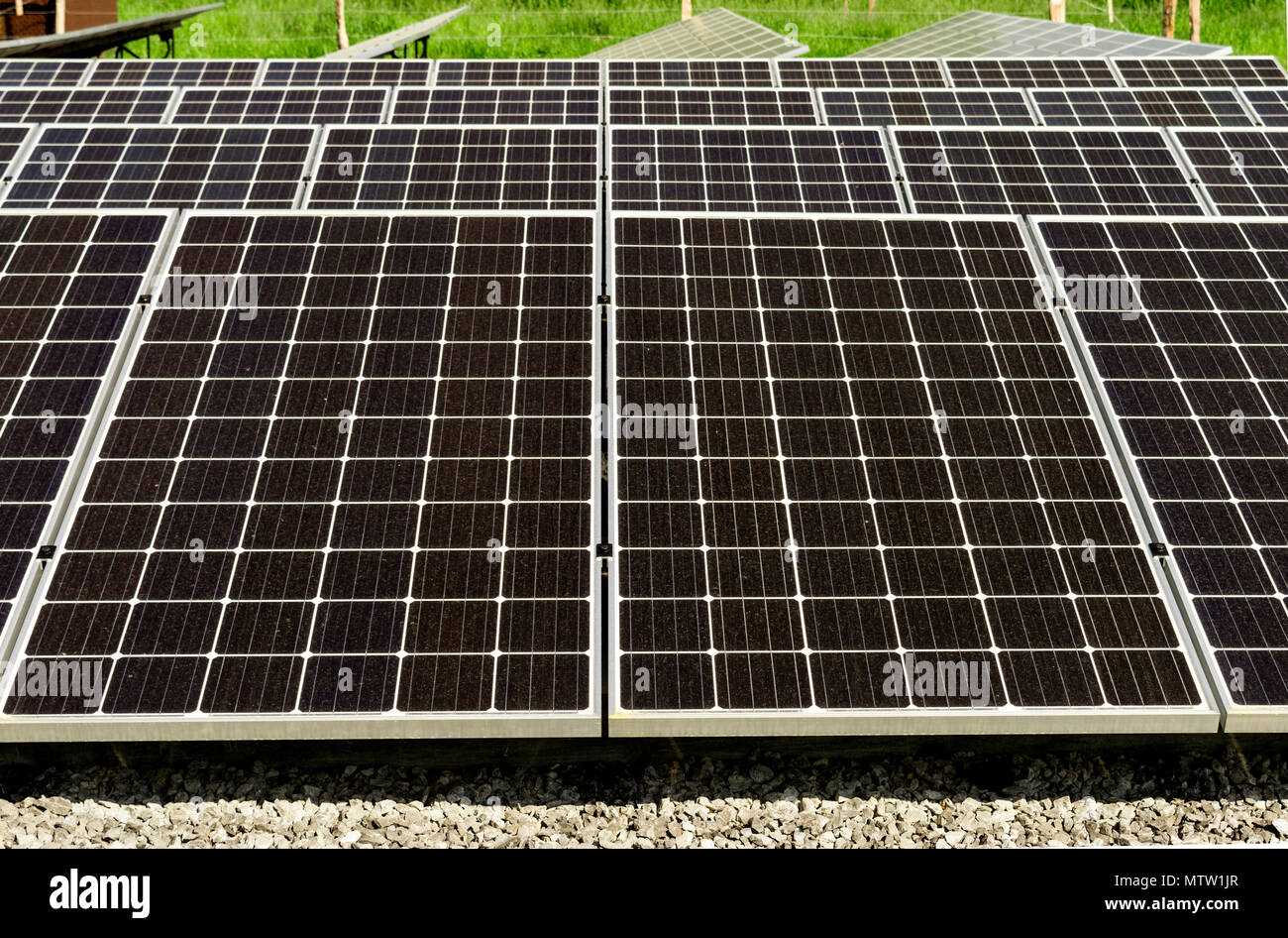 Close-up of large solar panels with focus on the foreground. Cades Cove Tennessee. - Stock Image