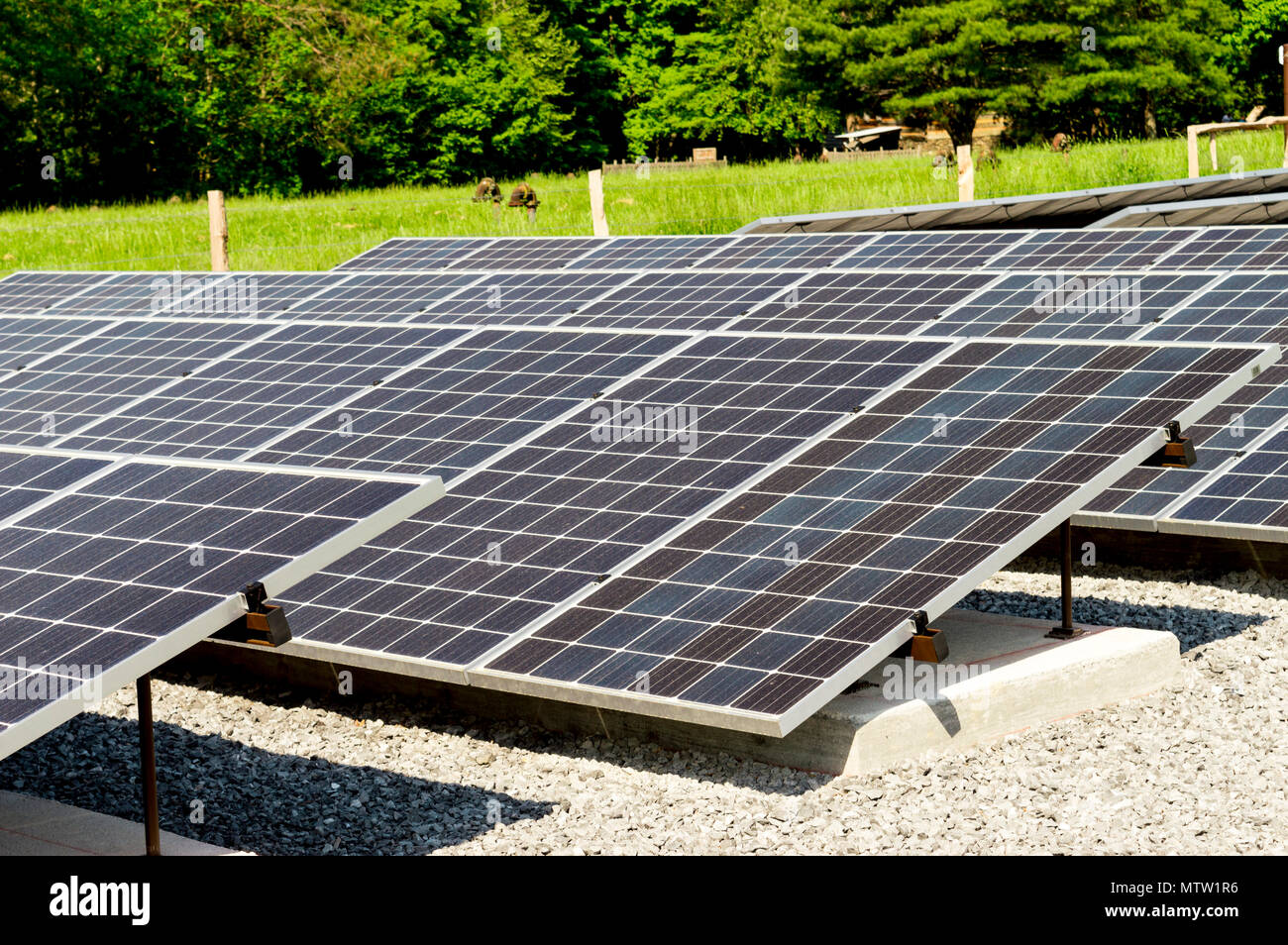 Close up of solar panels with focus on the front. Cades Cove Tennessee - Stock Image