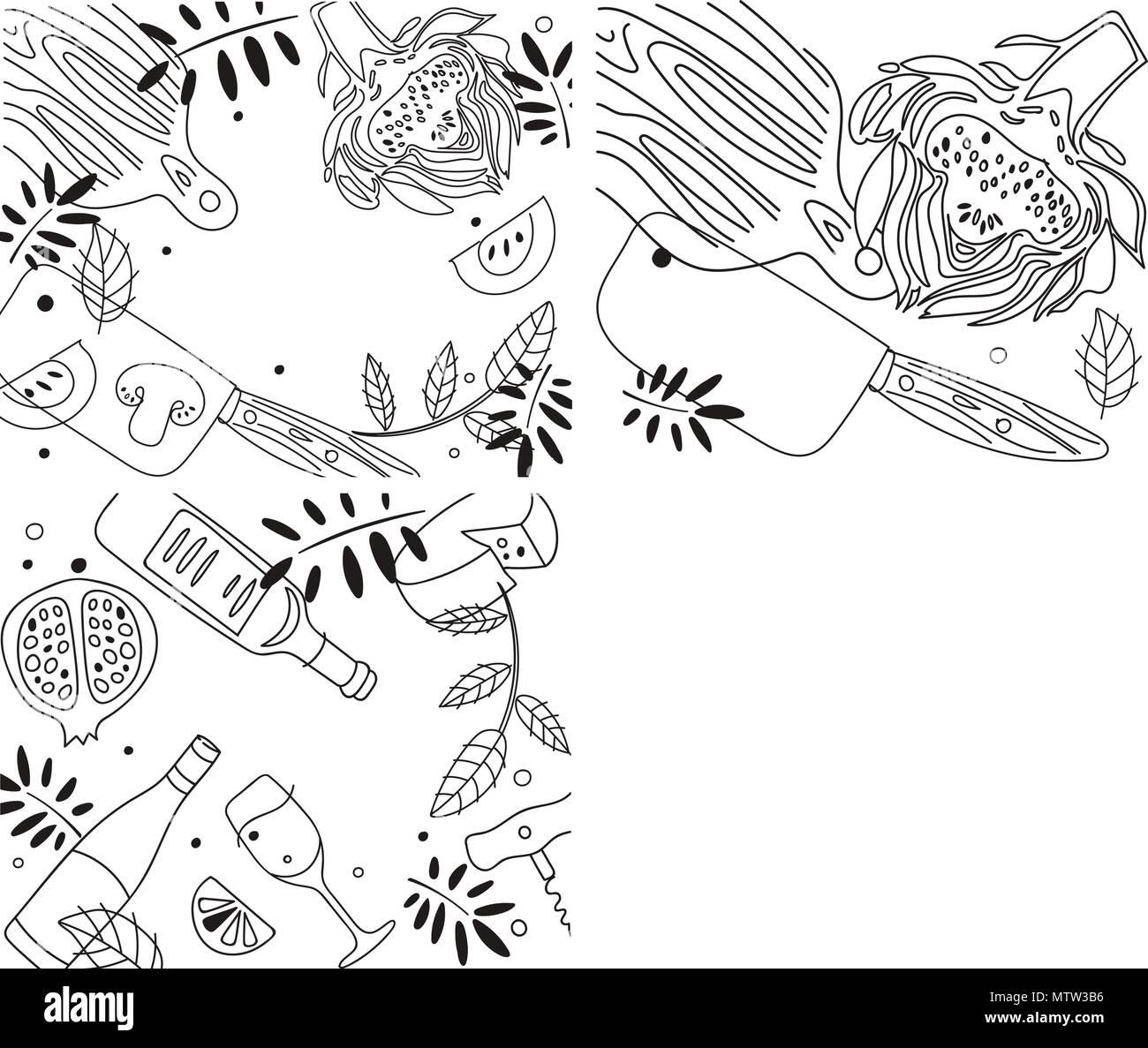 Kitchen Composition. Line Art Graphic. Restaurant Template