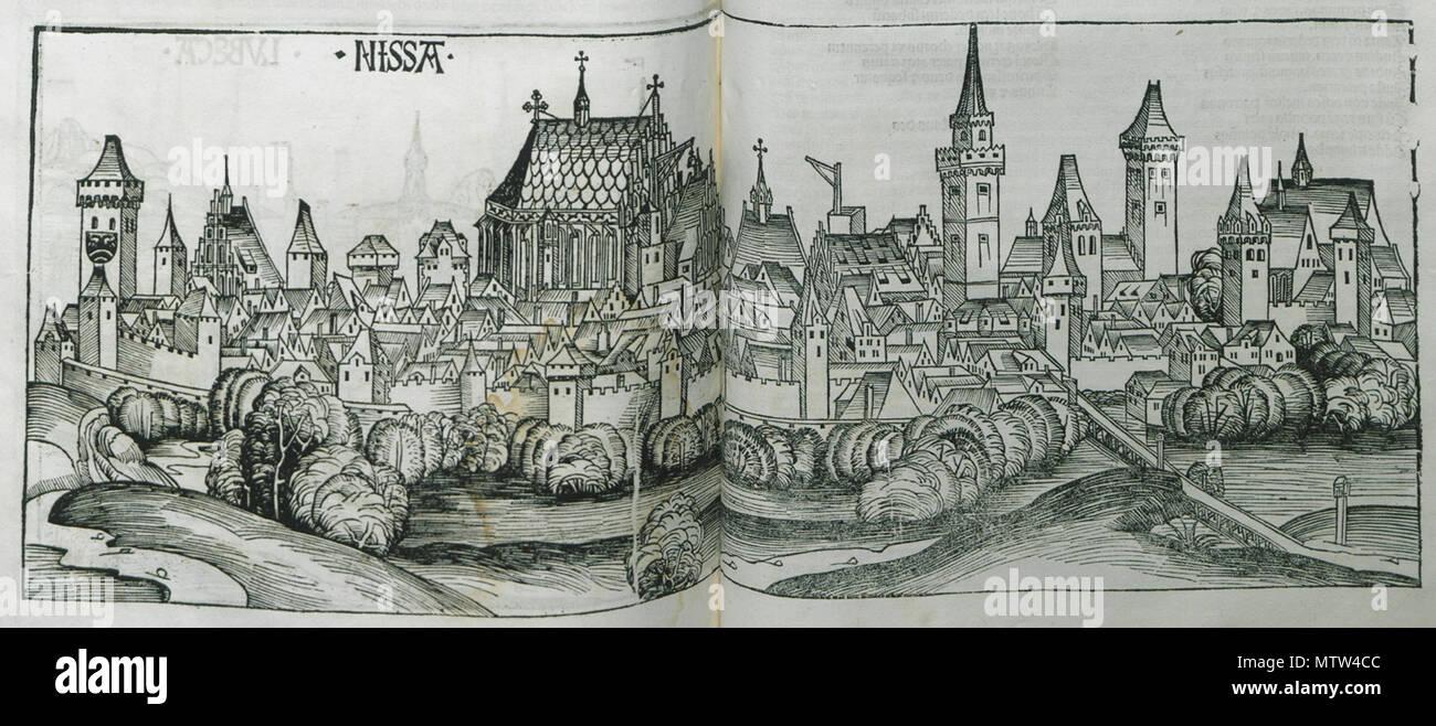 . English: Hartmann Schedell. Liber Cronicarum, Nürnberg, Anton Koberg/Schreyer & Sebastian Kammermeister, 1493. 1493. Hartmann Schedel 446 Nissa - Schedell Hartmann - 1493 - Stock Image